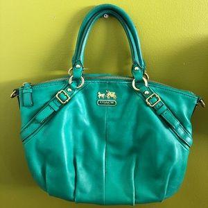 Authentic Coach Leather Turquoise Sophie Handbag.